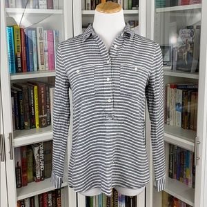 Madewell Gray Striped Slip It On Popover Tunic